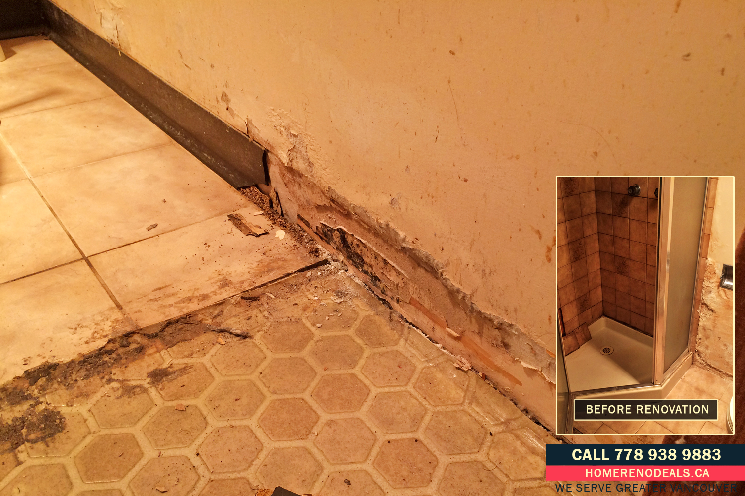 Water damaged bathroom walls and floor