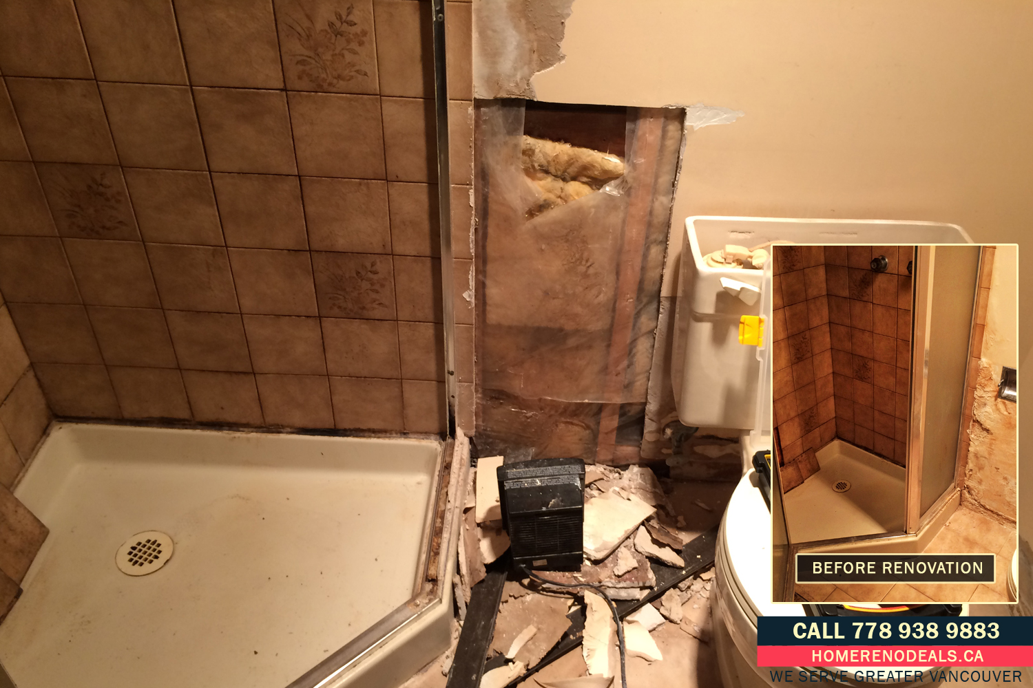 Repairs of water damaged bathroom wall