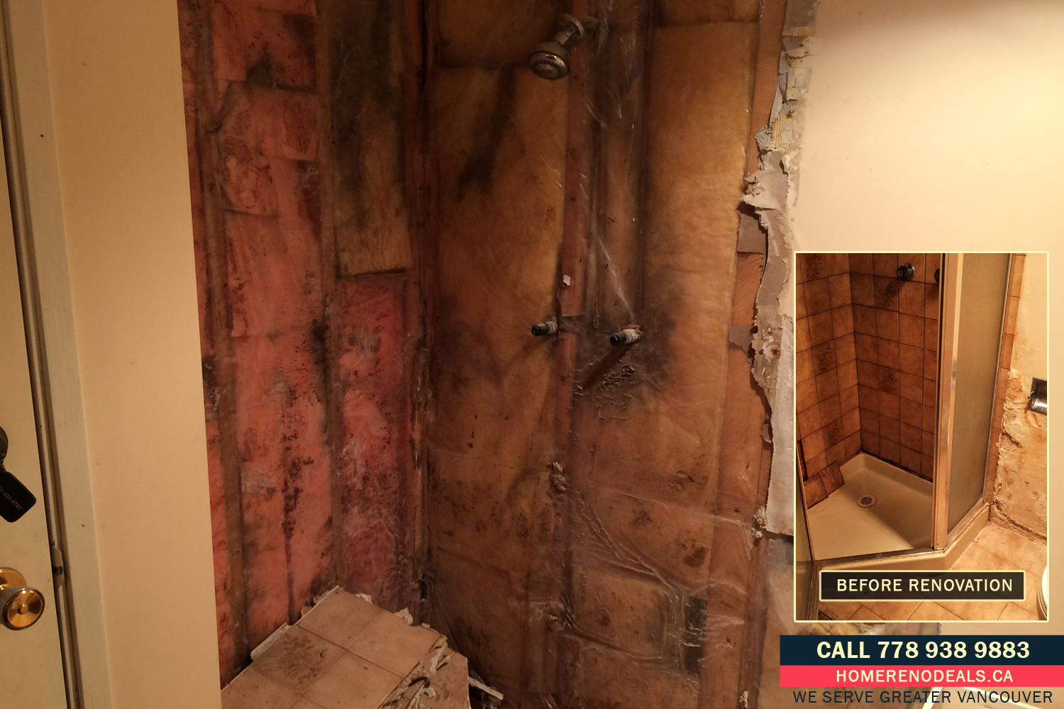 Repairs of water damaged bathroom shower stall walls