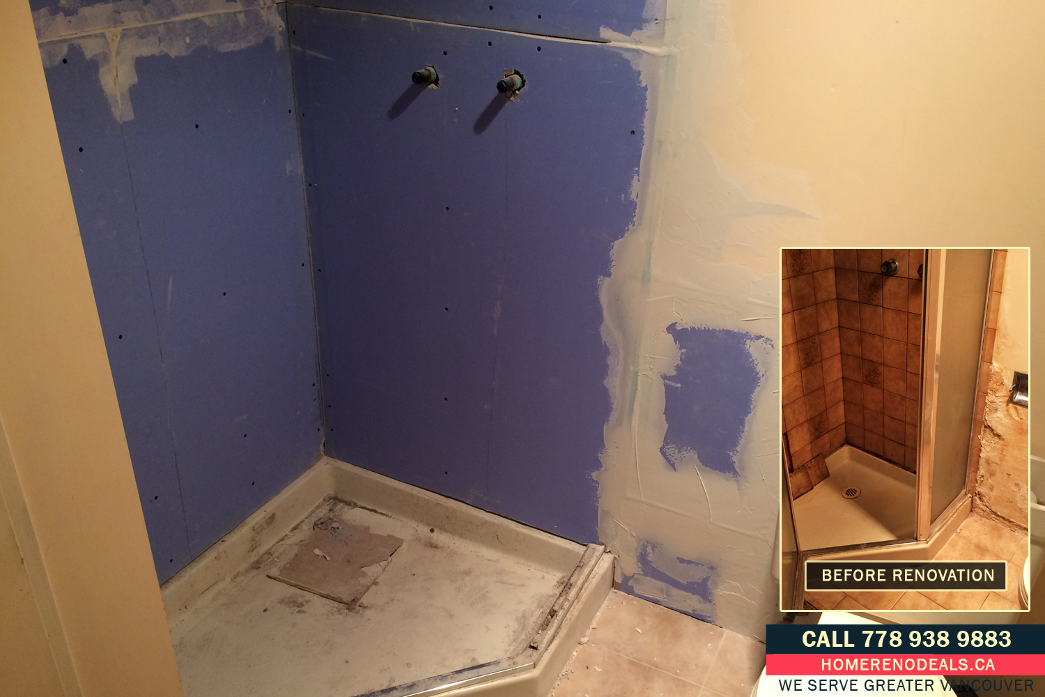 Installation of waterproof mold resistant gyprock in the bathroom