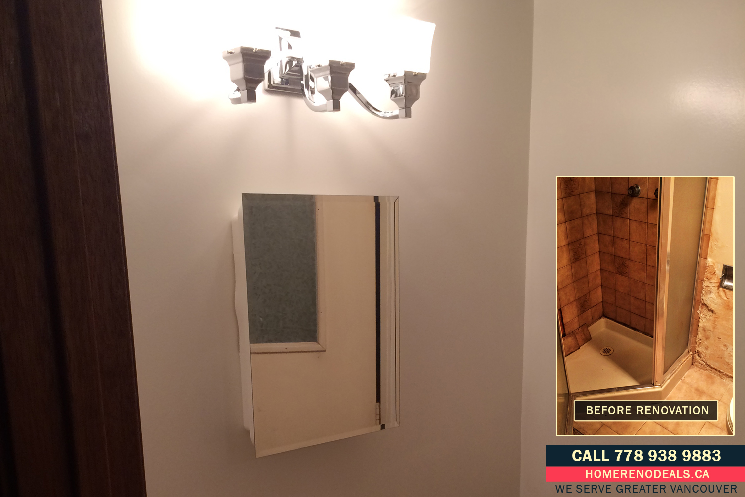 Bathroom light fixture and medicine cabinet installed