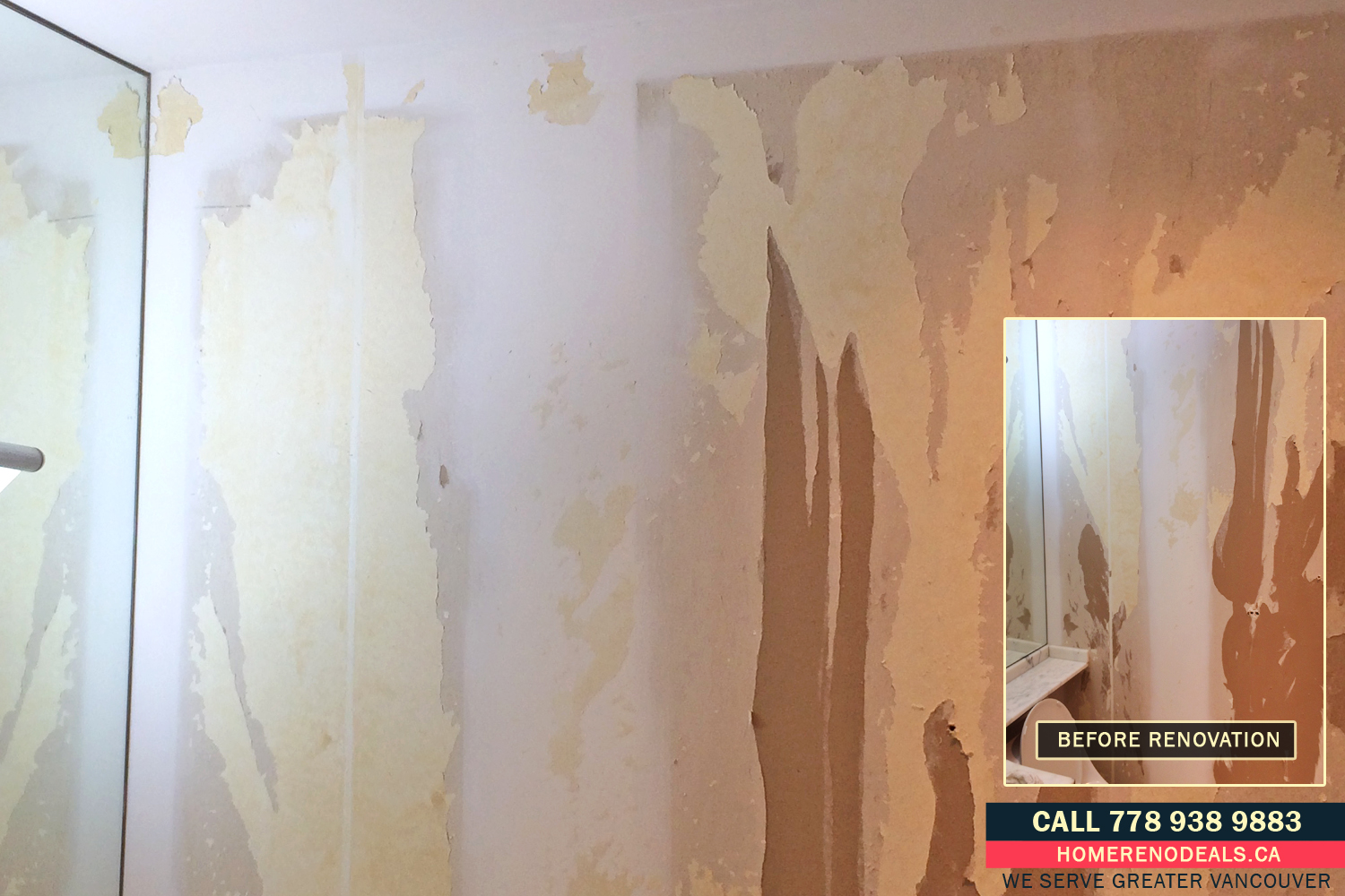 Severely damaged bathroom walls after the home owner removed wallpaper
